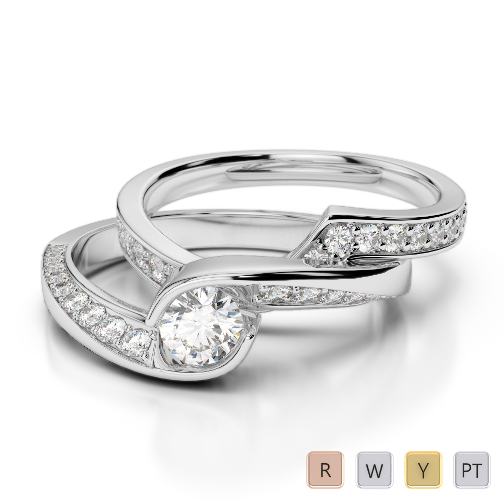 Gold / Platinum Round cut Diamond Bridal Set Ring AGDR-2019