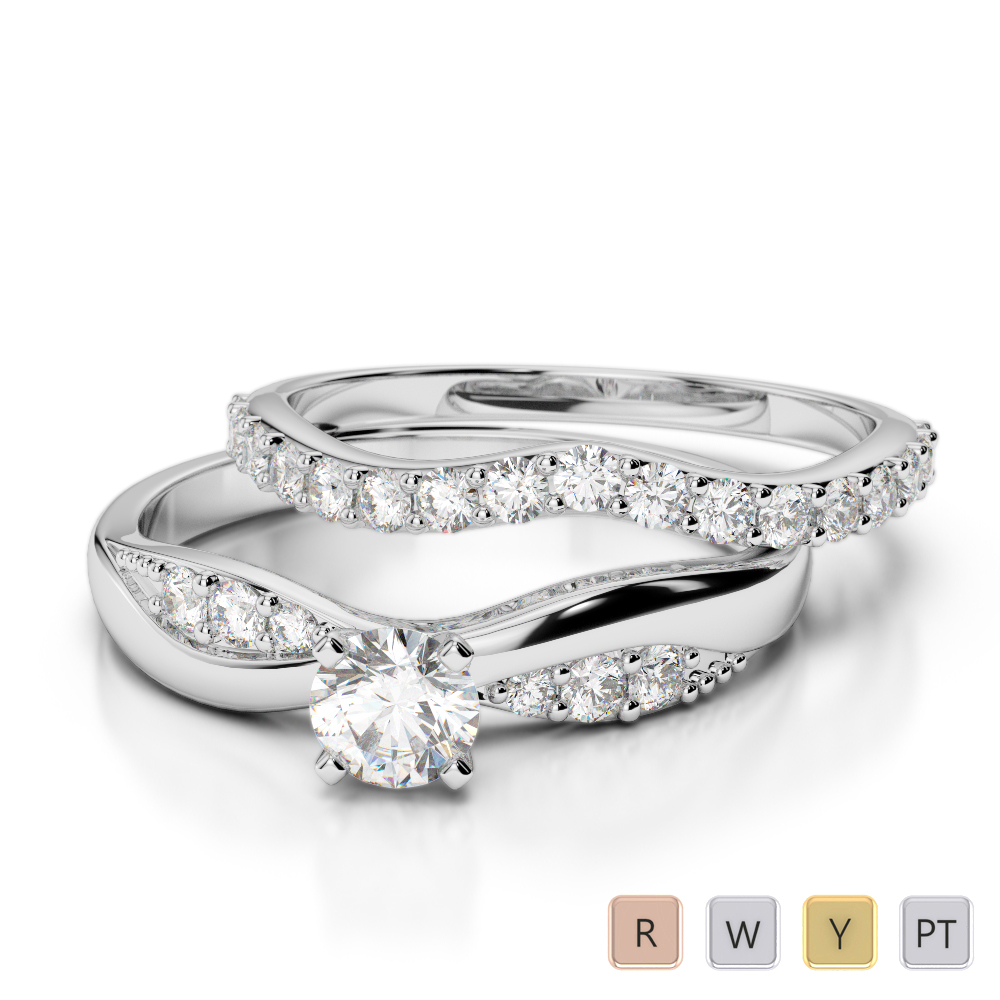 Gold / Platinum Round cut Diamond Bridal Set Ring AGDR-2023