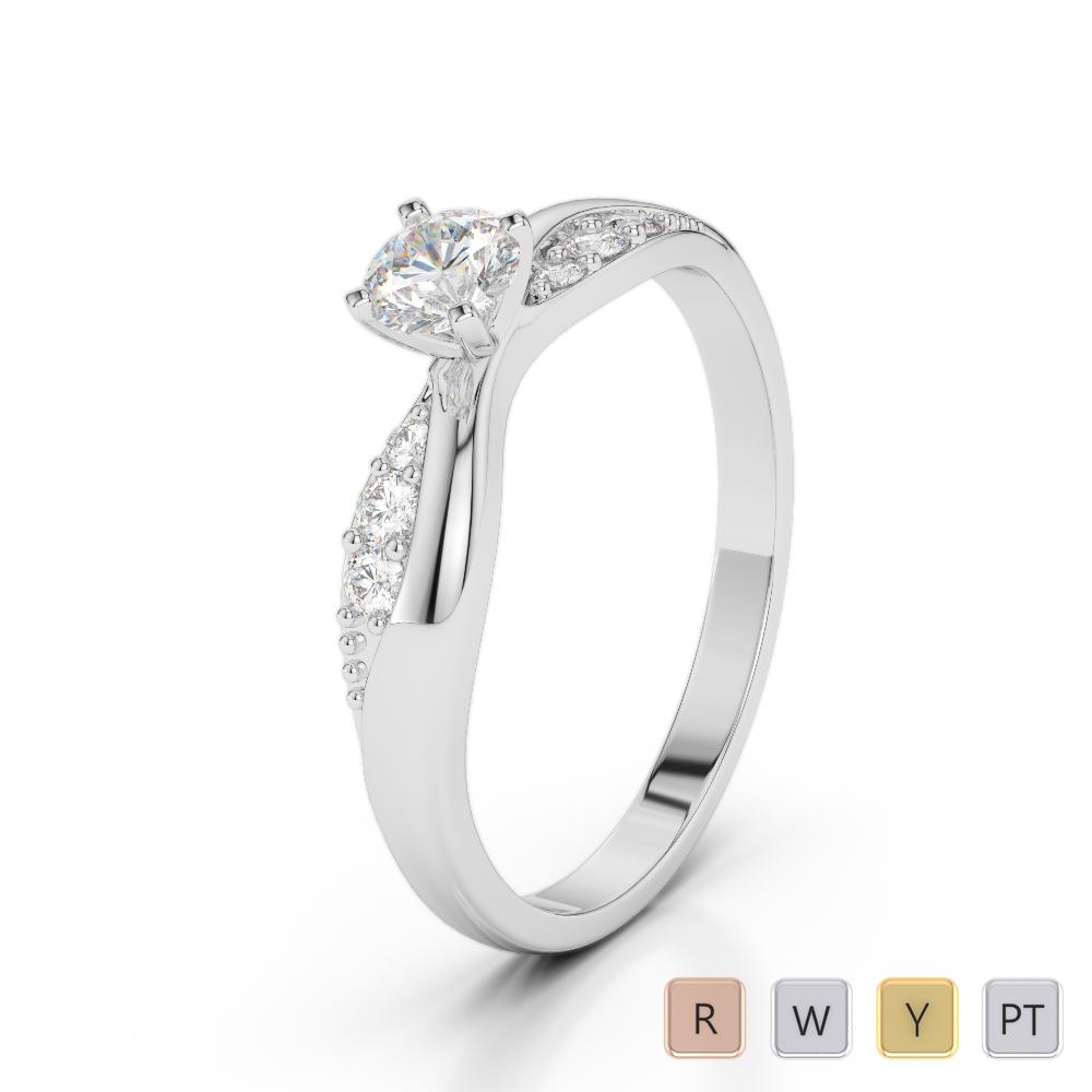 Gold / Platinum Round Cut Diamond Engagement Ring AGDR-2024