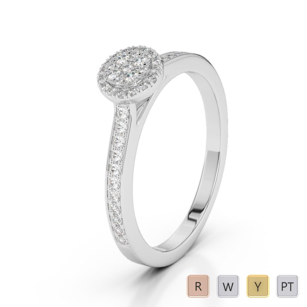 Gold / Platinum Round Cut Diamond Engagement Ring AGDR-2026