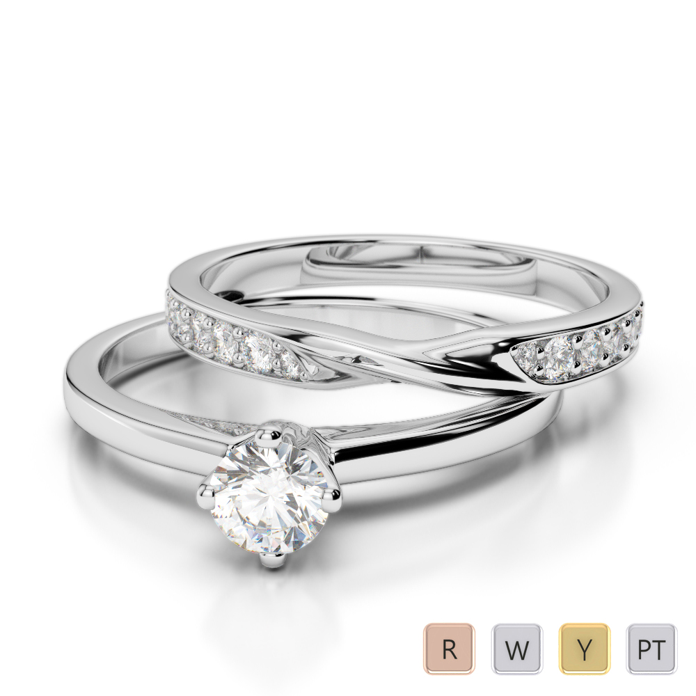Gold / Platinum Round cut Diamond Bridal Set Ring AGDR-2027