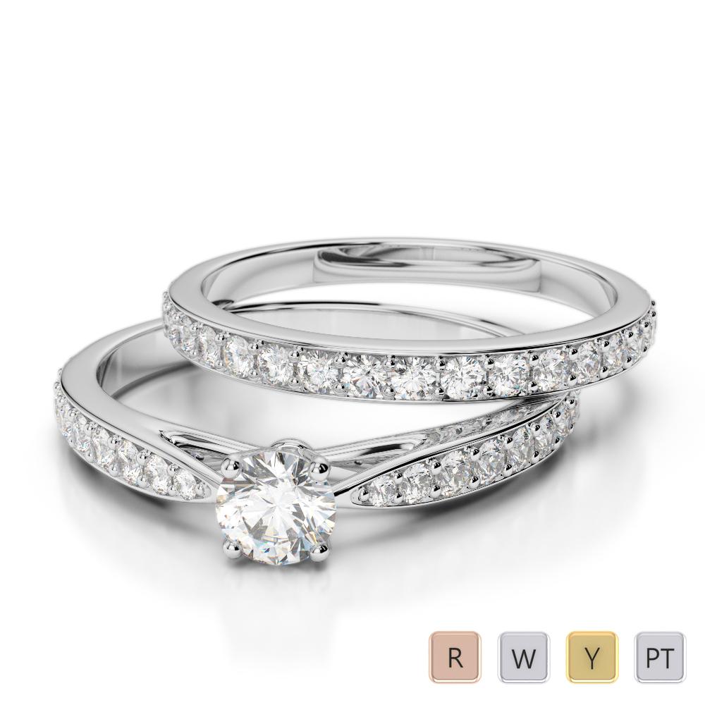 Gold / Platinum Diamond & Gemstone Bridal Set Ring AGDR-2031