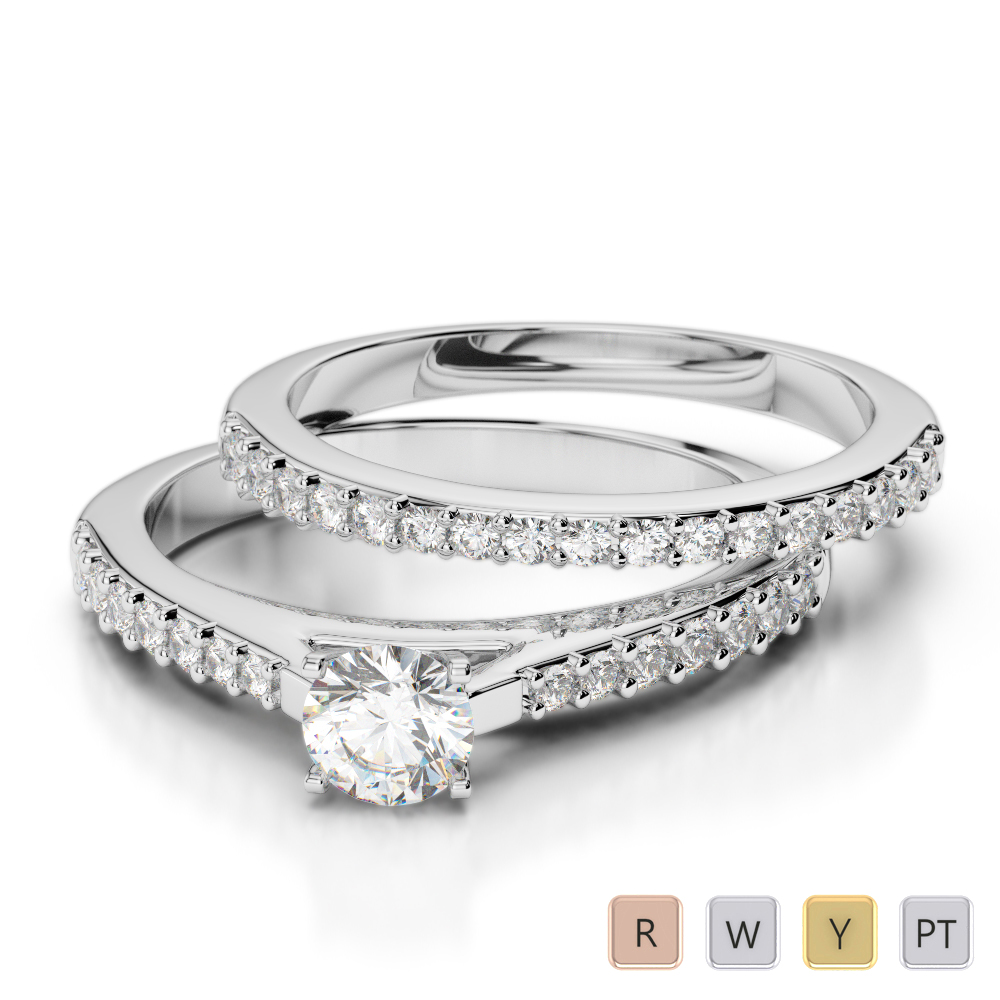Gold / Platinum Round cut Diamond Bridal Set Ring AGDR-2039