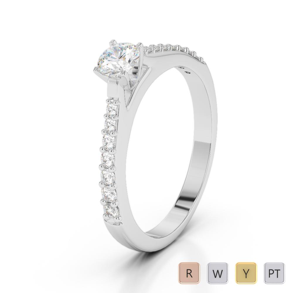 Gold / Platinum Round Cut Diamond Engagement Ring AGDR-2040