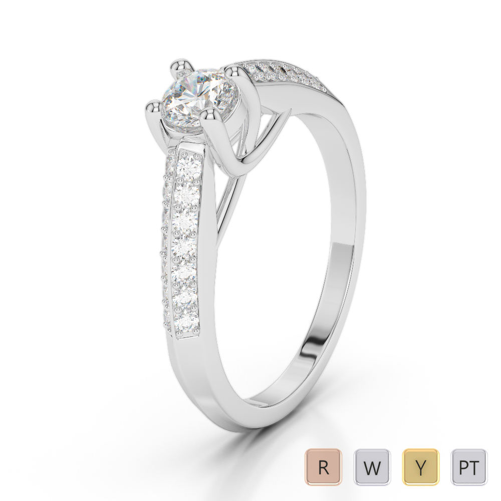 Gold / Platinum Diamond & Gemstone Engagement Ring AGDR-2044