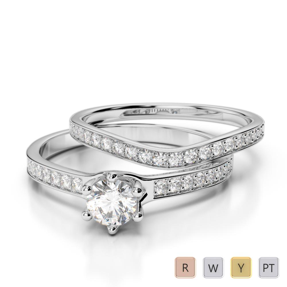 Gold / Platinum Diamond & Gemstone Bridal Set Ring AGDR-2049