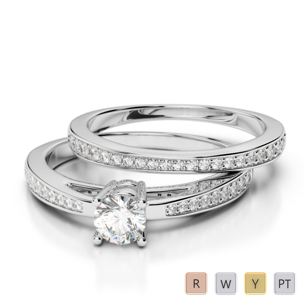 Gold / Platinum Diamond & Gemstone Bridal Set Ring AGDR-2051