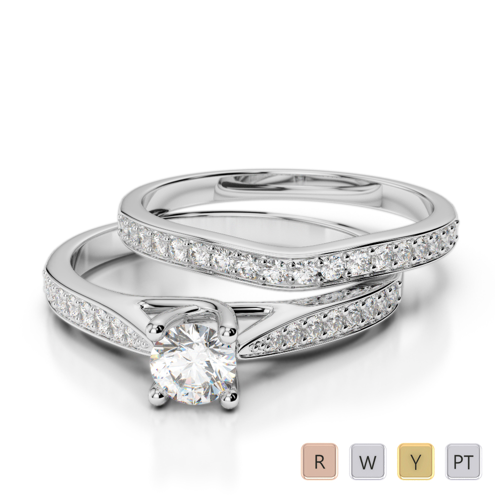 Gold / Platinum Round cut Diamond Bridal Set Ring AGDR-2053