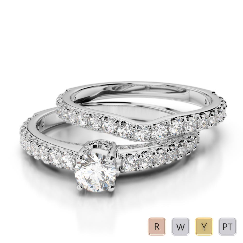 Gold / Platinum Diamond & Gemstone Bridal Set Ring AGDR-2055