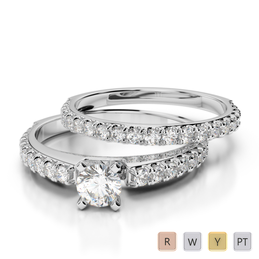 Gold / Platinum Diamond & Gemstone Bridal Set Ring AGDR-2057