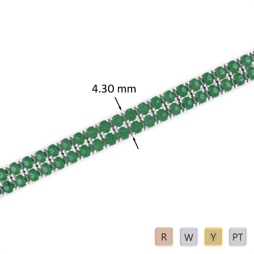 6 Ct Emerald Bracelet in Gold/Platinum AGBRL-1032