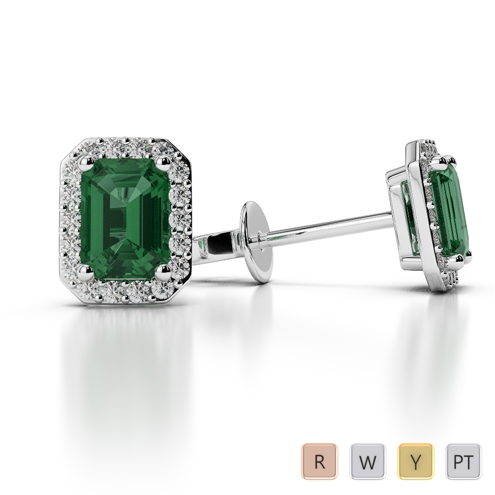 Emerald Shape Emerald and Diamond Earrings in Gold / Platinum AGER-1062