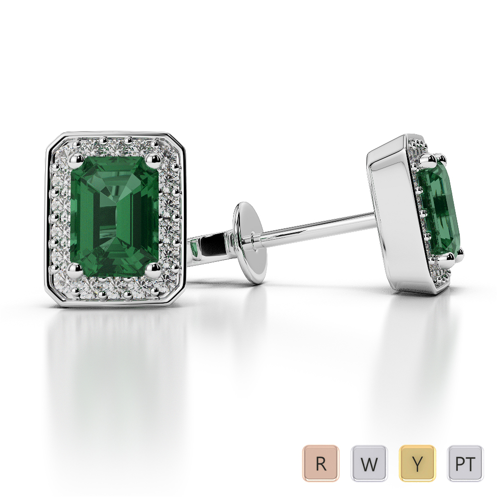 Emerald Shape Emerald and Diamond Earrings in Gold / Platinum AGER-1063
