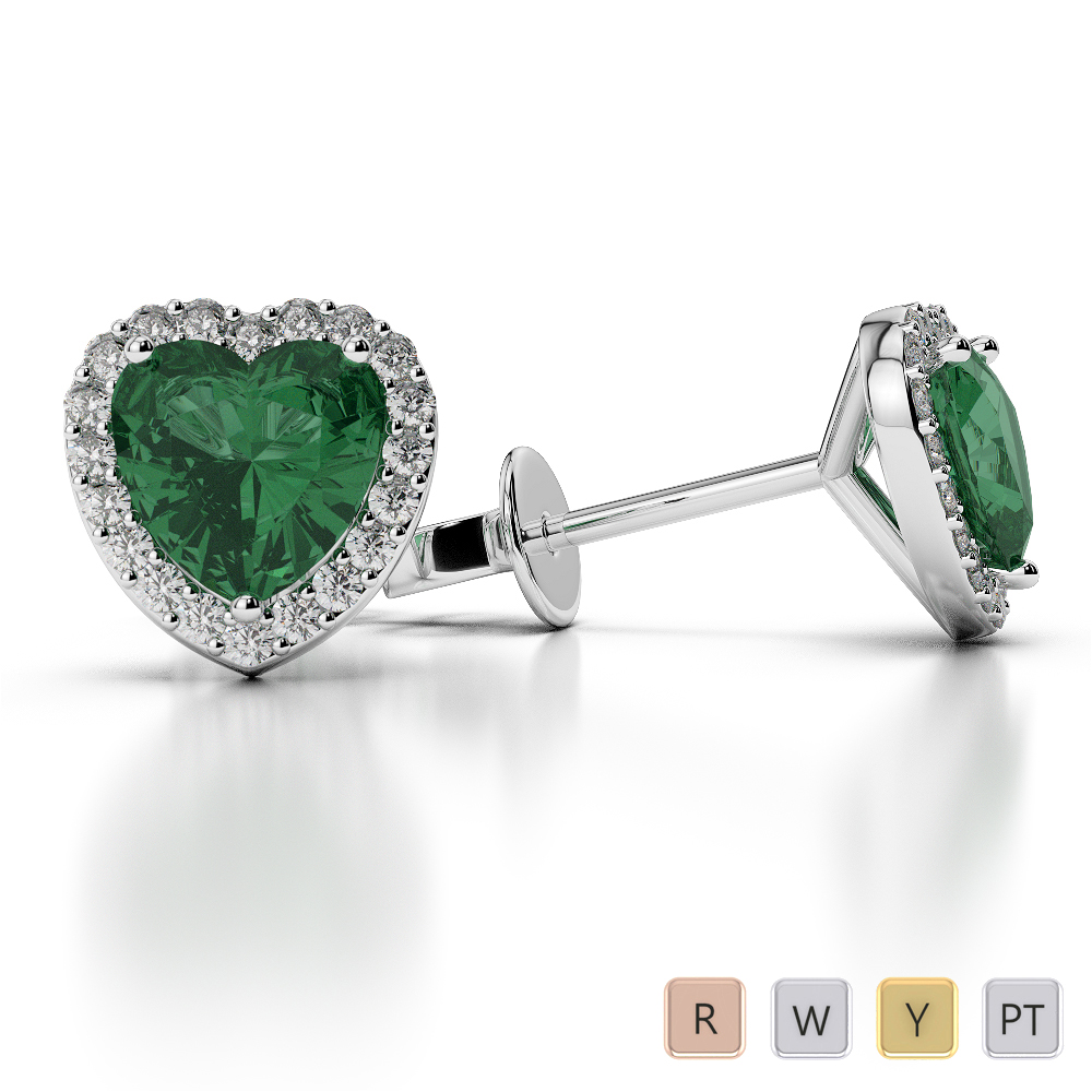 Heart Shape Emerald and Diamond Earrings in Gold / Platinum AGER-1064
