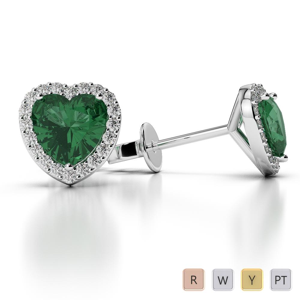 Gold / Platinum Heart Shape Gemstone Earring AGER-1065