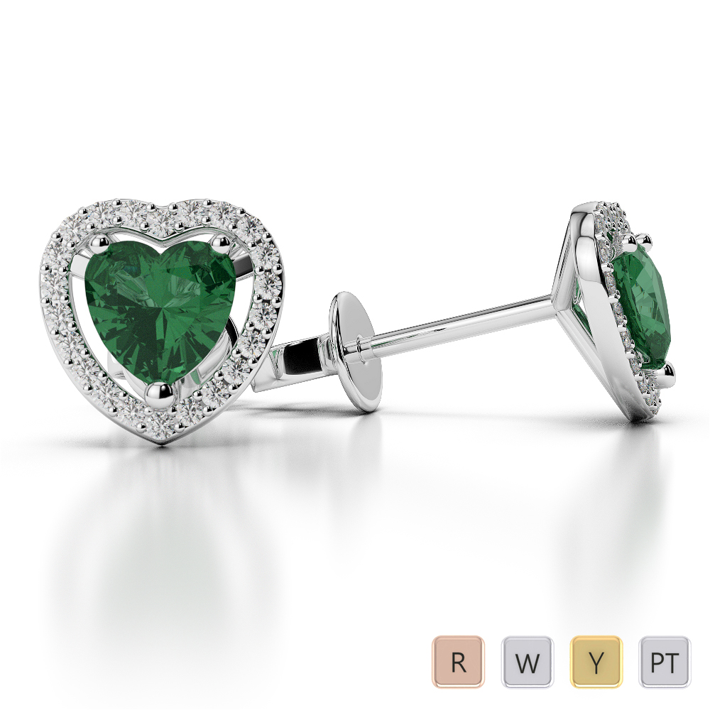 Heart Shape Emerald and Diamond Earrings in Gold / Platinum AGER-1066