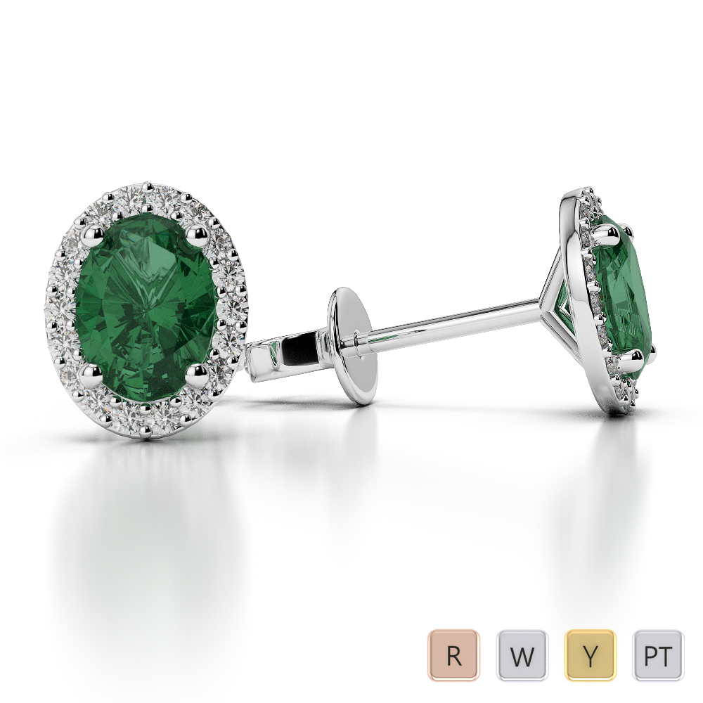 Oval Shape Emerald and Diamond Earrings in Gold / Platinum AGER-1072