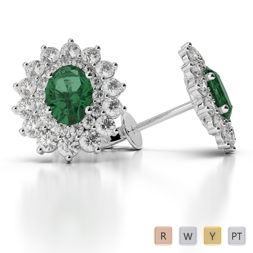 Oval Shape Emerald and Diamond Earrings in Gold / Platinum AGER-1073