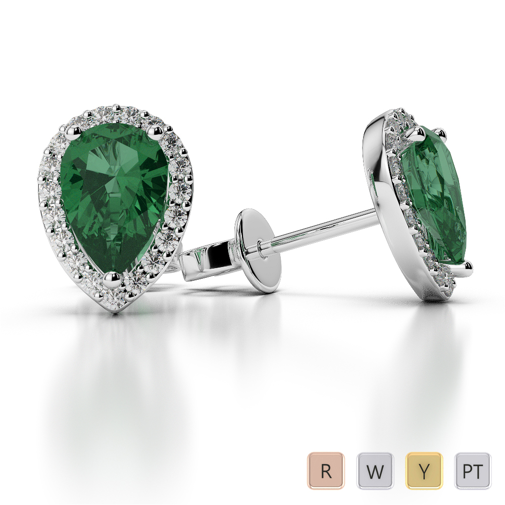 Pear Shape Emerald and Diamond Earrings in Gold / Platinum AGER-1074