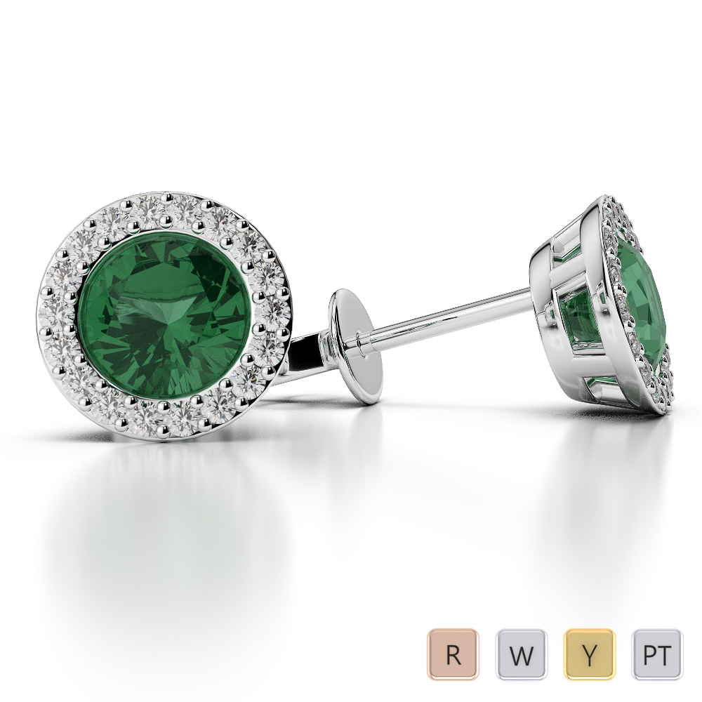 Round Shape Emerald and Diamond Earrings in Gold / Platinum AGER-1075