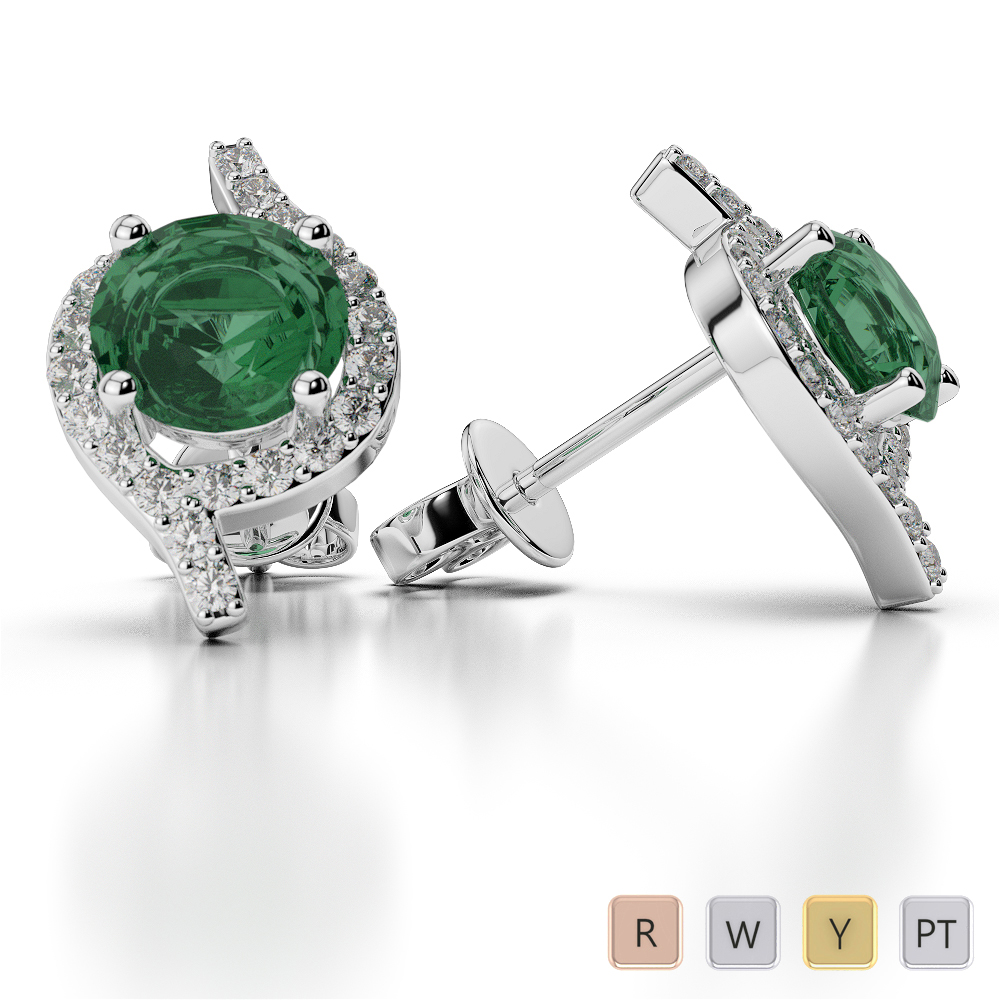 Round Shape Emerald and Diamond Earrings in Gold / Platinum AGER-1076
