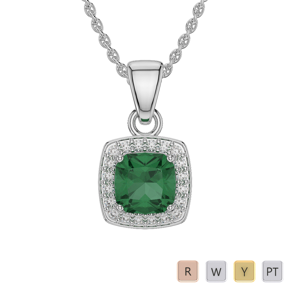 Gold / Platinum Cushion Emerald Pendant Set AGPS-1061