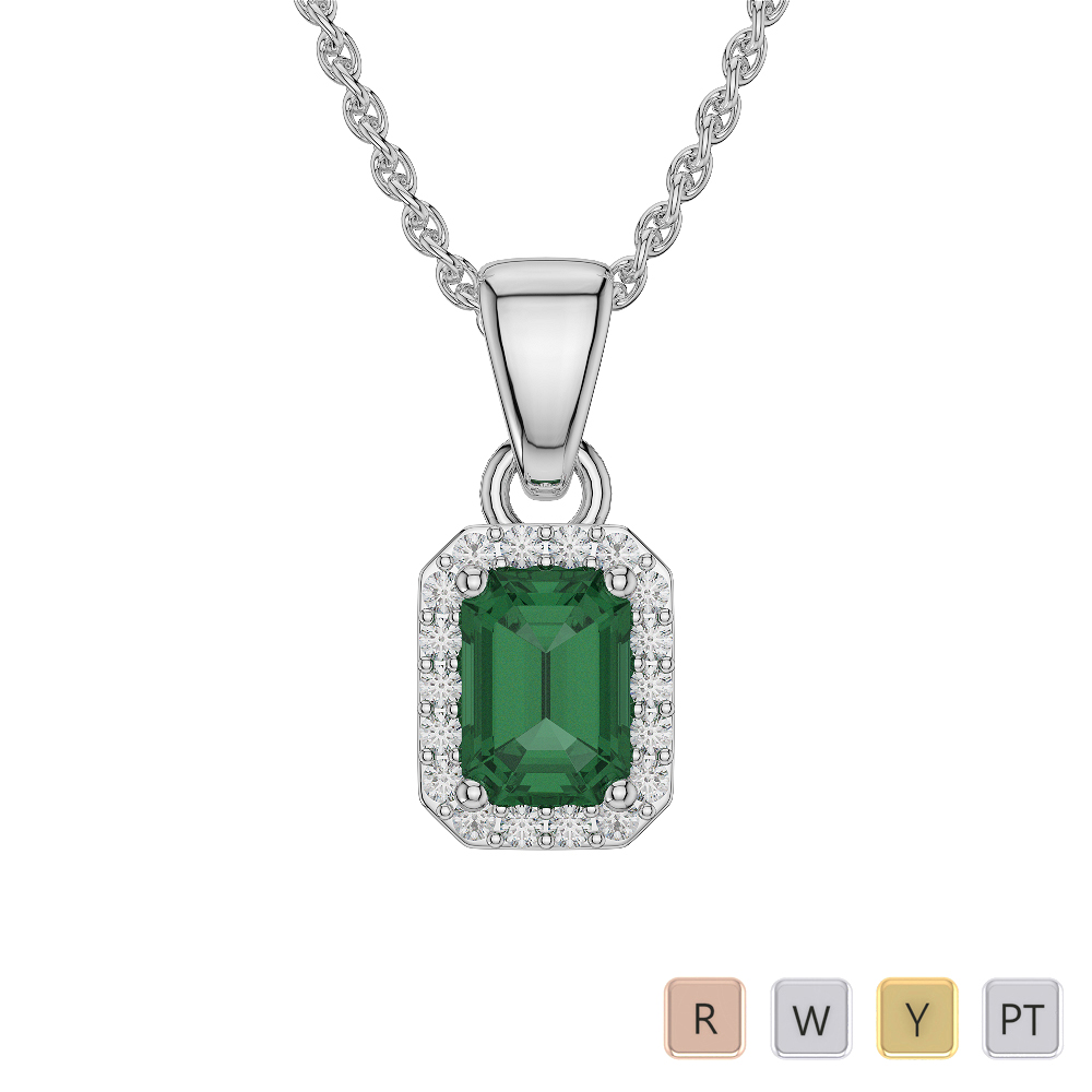 Emerald Shape Emerald and Diamond Necklaces in Gold / Platinum AGDNC-1062