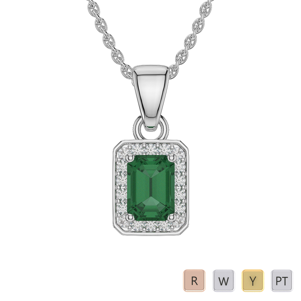 Emerald Shape Emerald and Diamond Necklaces in Gold / Platinum AGDNC-1063