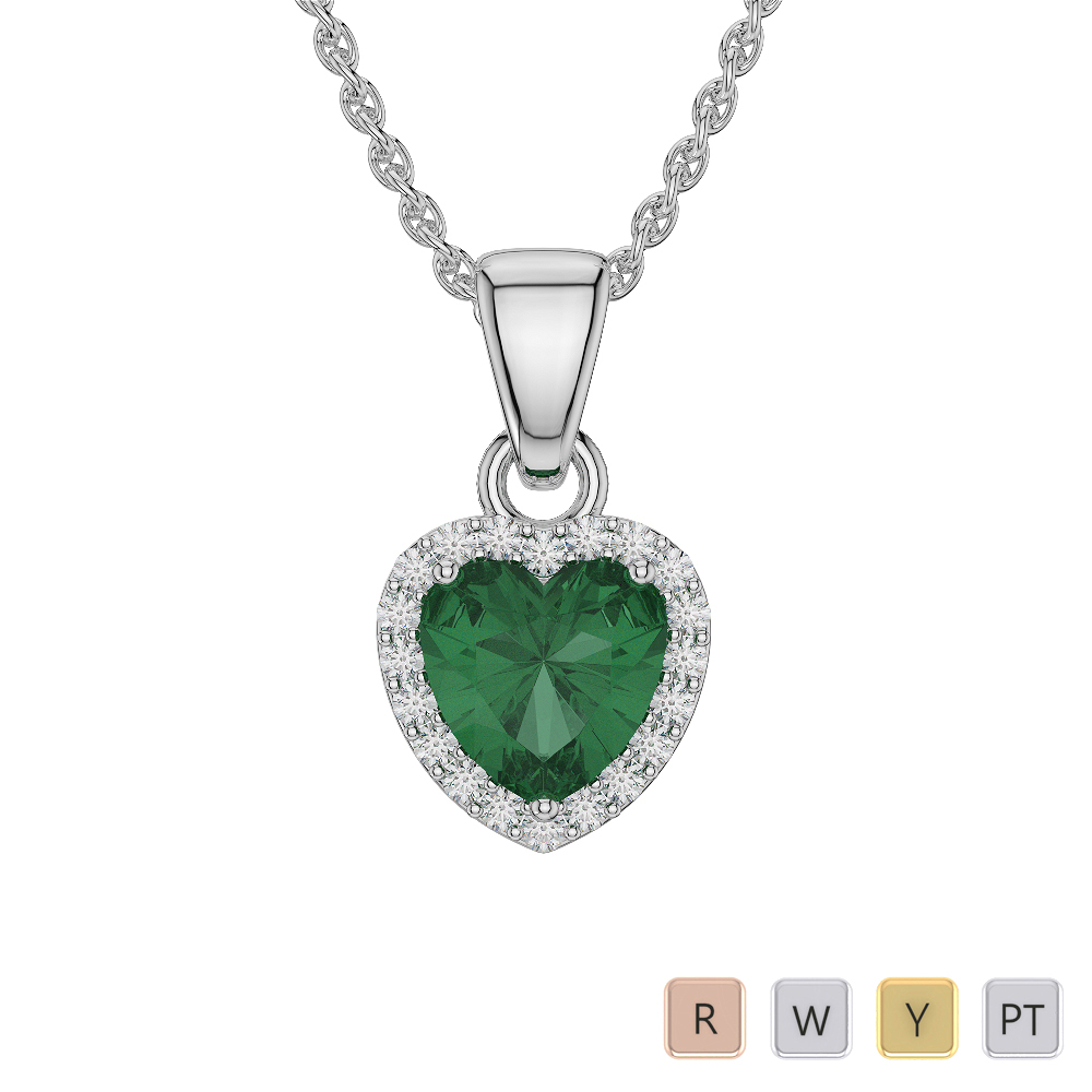 Heart Shape Emerald and Diamond Necklaces in Gold / Platinum AGDNC-1064