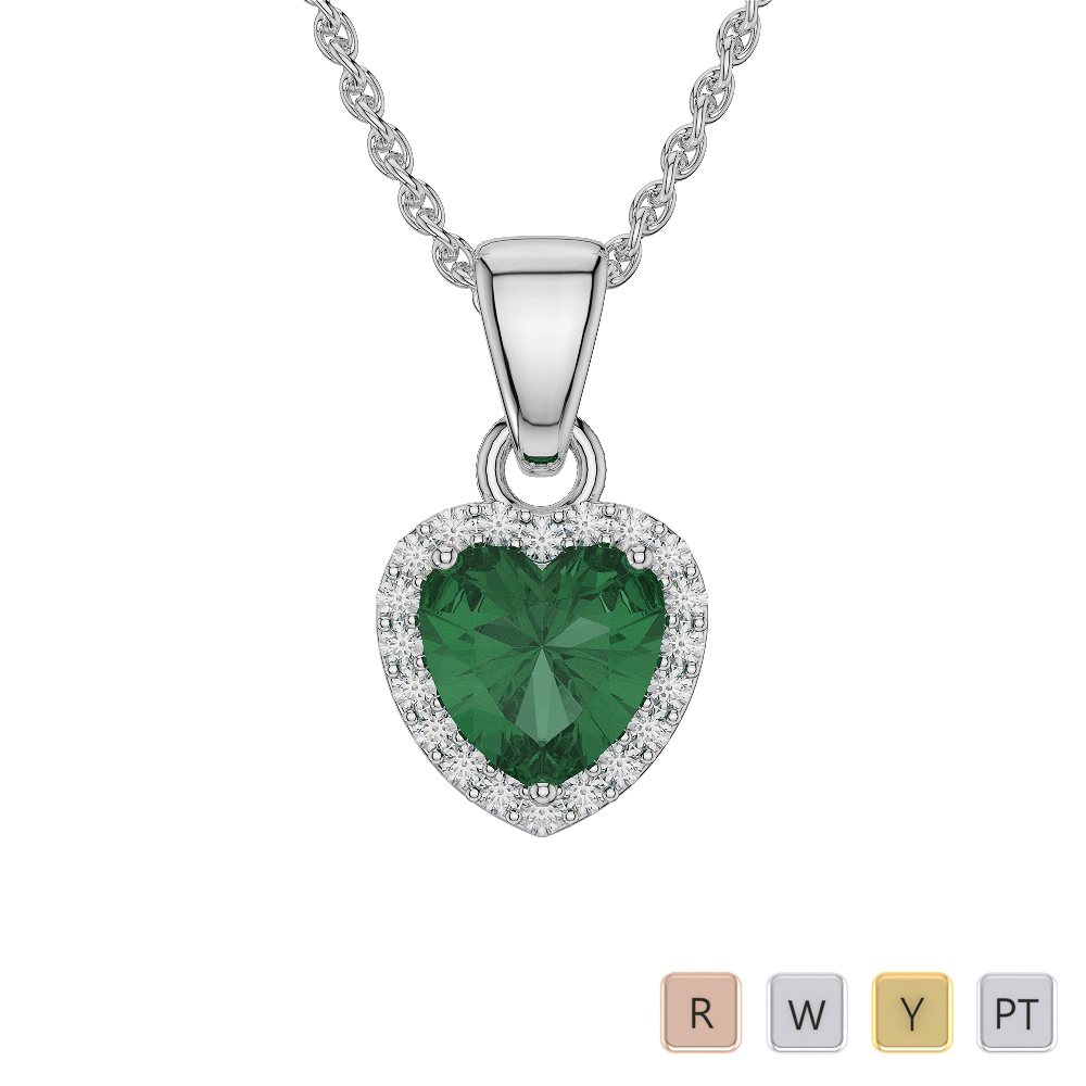 Gold / Platinum Heart Shape Gemstone Necklace AGDNC-1065