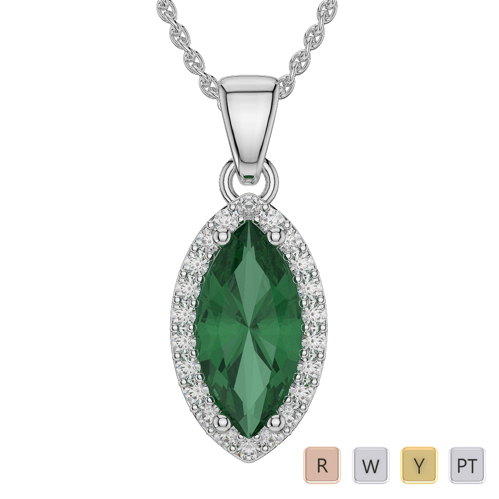 Gold / Platinum Marquise Shape Gemstone Necklace AGDNC-1067
