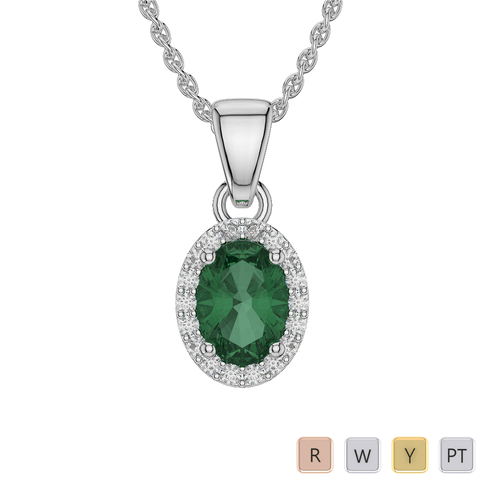 Oval Shape Emerald and Diamond Necklaces in Gold / Platinum AGDNC-1070