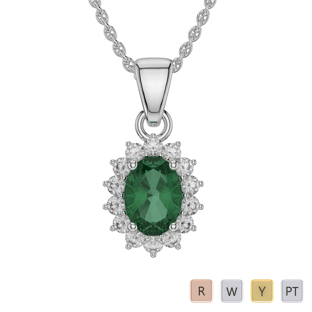 Oval Shape Emerald and Diamond Necklaces in Gold / Platinum AGDNC-1071