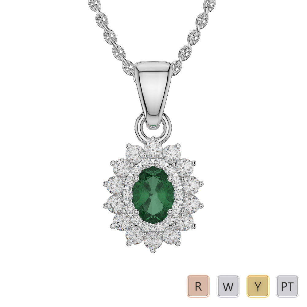 Oval Shape Emerald and Diamond Necklaces in Gold / Platinum AGDNC-1073
