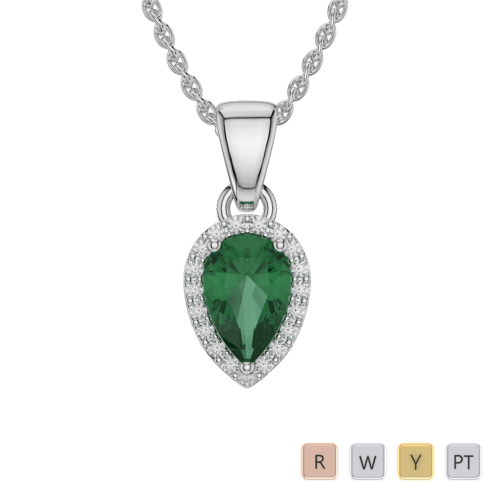 Pear Shape Emerald and Diamond Necklaces in Gold / Platinum AGDNC-1074