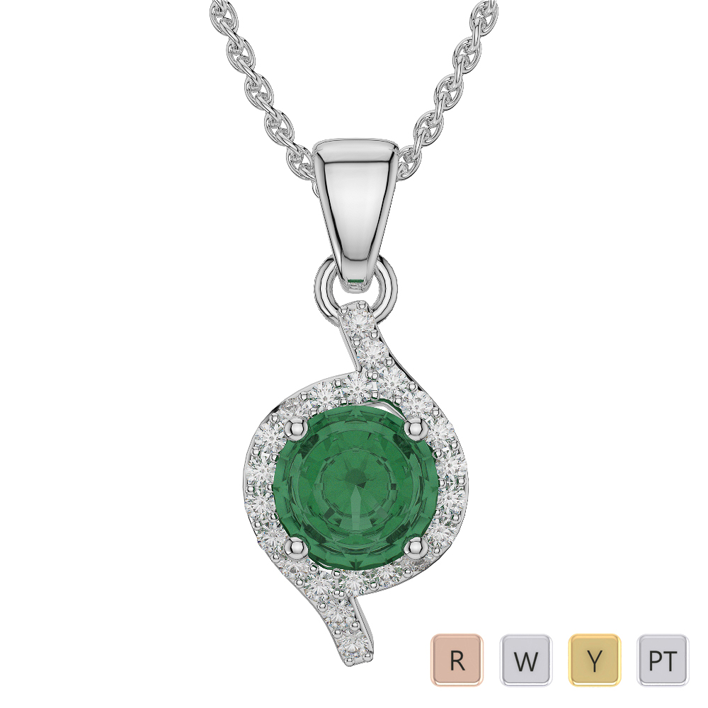Round Shape Emerald and Diamond Necklaces in Gold / Platinum AGDNC-1076
