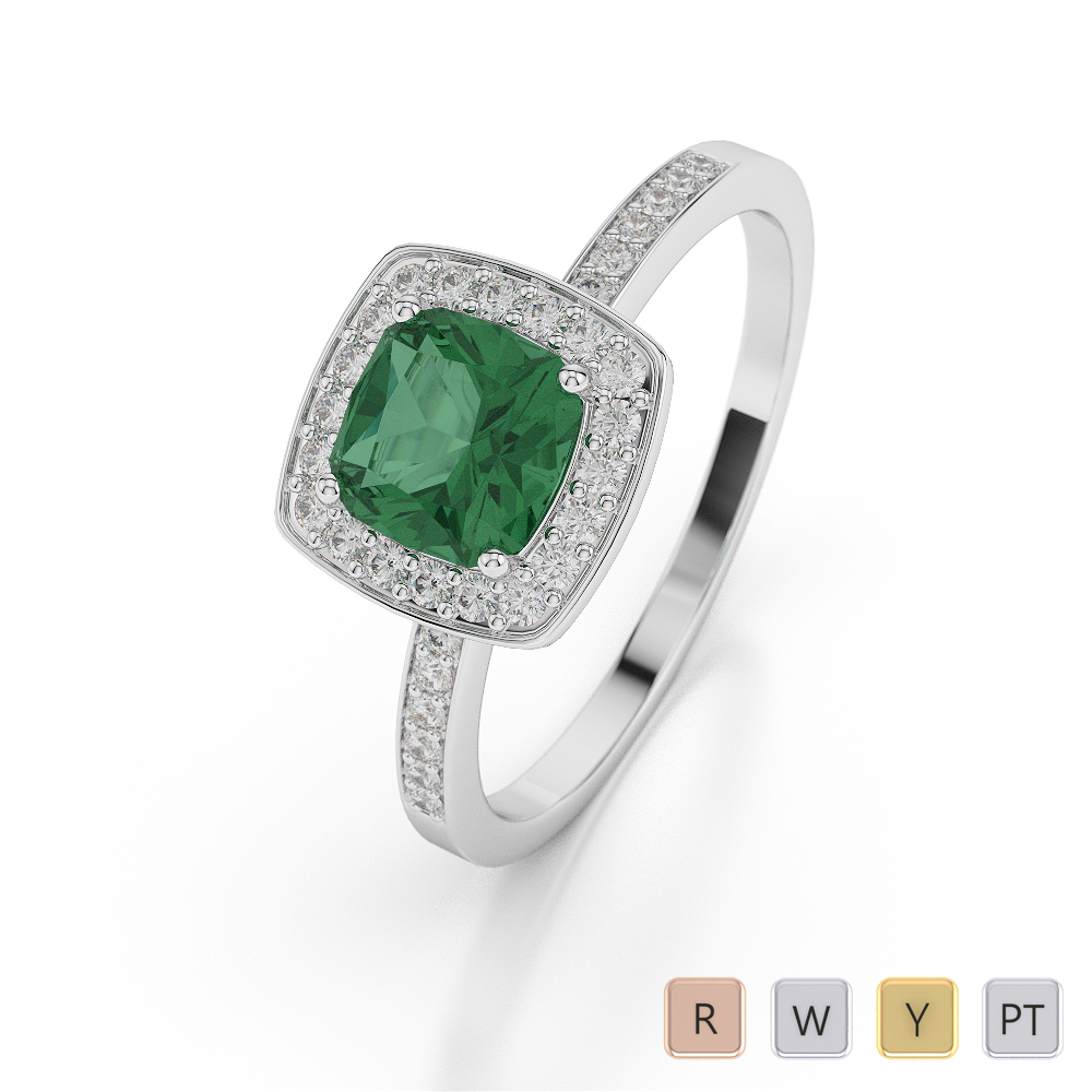 Gold / Platinum Cushion Shape Emerald and Diamond Ring AGDR-1061