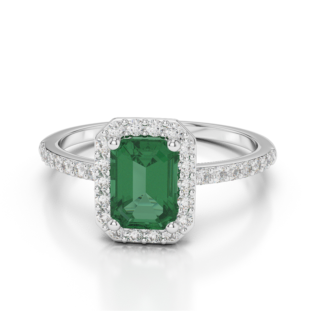 Gold platinum emerald shape emerald and diamond ring agdr 1062 aloadofball Image collections