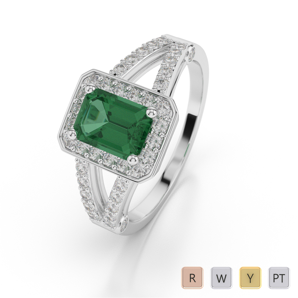 Gold / Platinum Emerald Shape Gemstone & Diamond Ring AGDR-1063