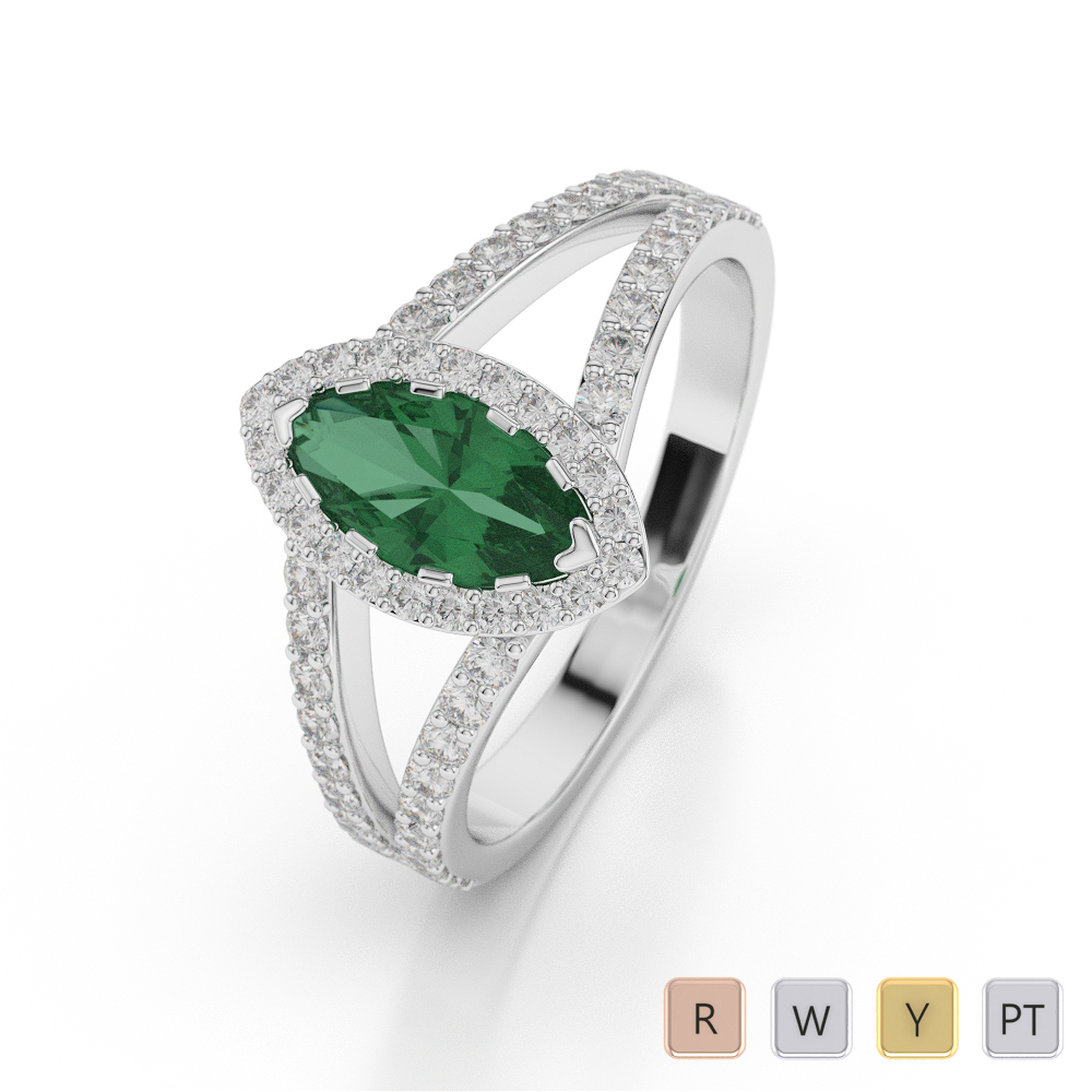 Gold / Platinum Marquise Shape Gemstone & Diamond Ring AGDR-1068