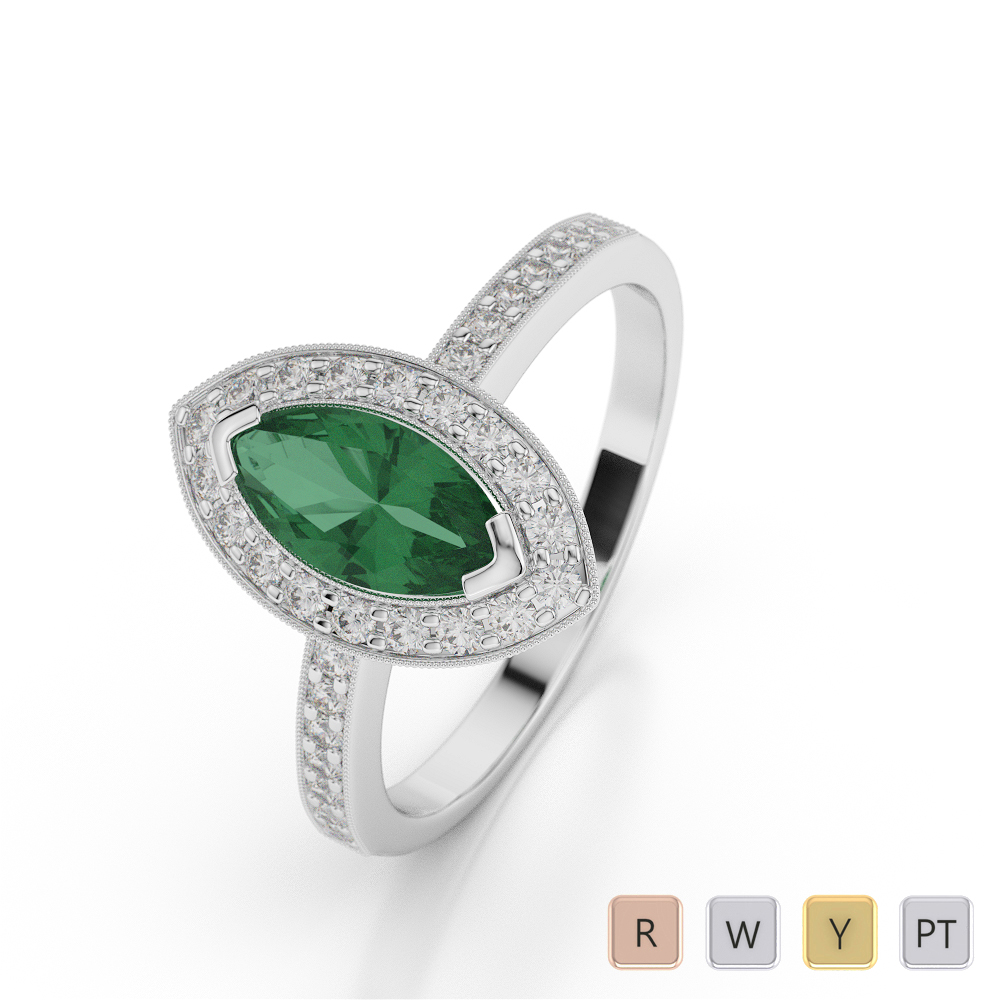 Gold / Platinum Marquise Shape Emerald and Diamond Ring AGDR-1069