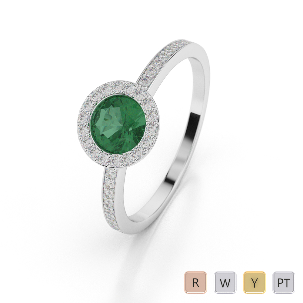 Gold / Platinum Round Shape Emerald and Diamond Ring AGDR-1075