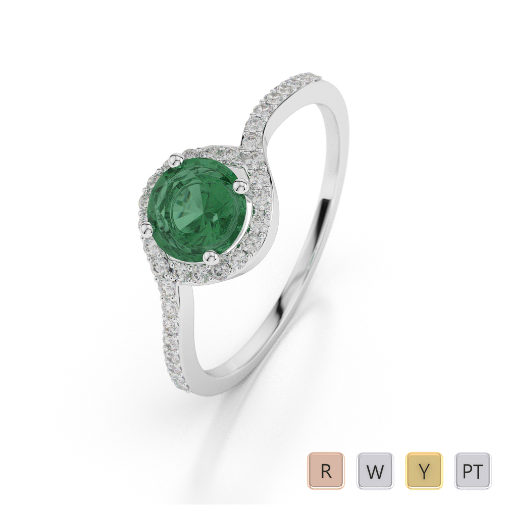 Gold / Platinum Round Shape Emerald and Diamond Ring AGDR-1076