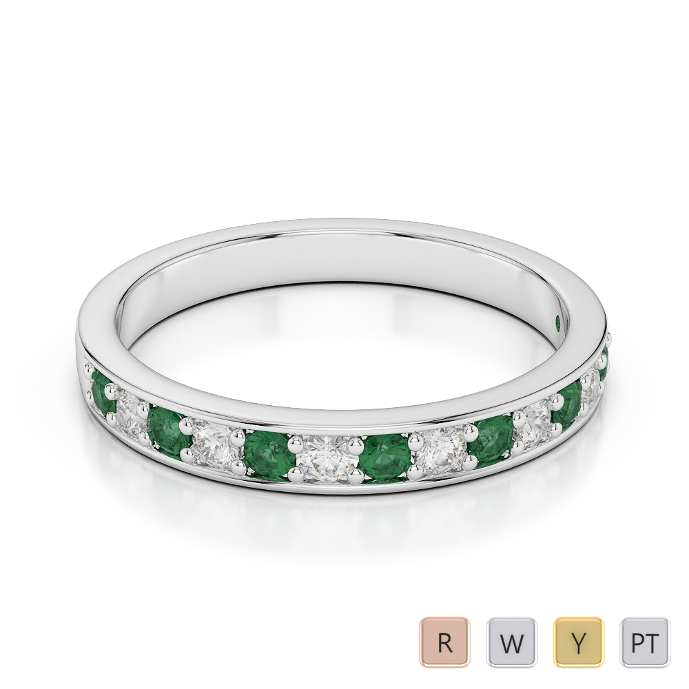 2.5 MM Gold / Platinum Round Cut Emerald and Diamond Half Eternity Ring AGDR-1083