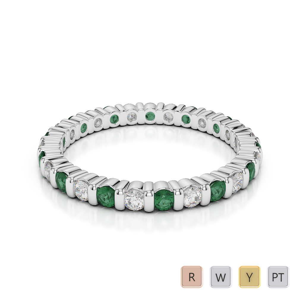 Gold / Platinum Round Cut Emerald and Diamond Full Eternity Ring AGDR-1092