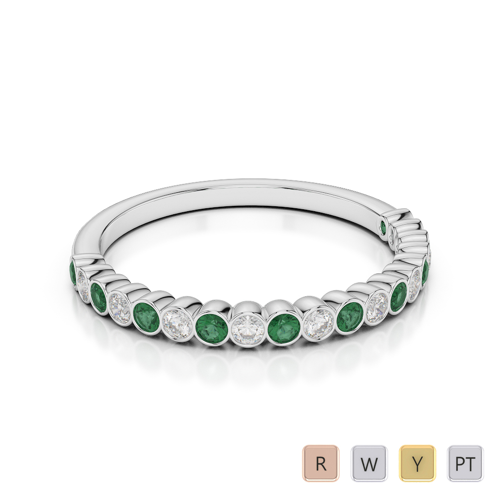 2 MM Gold / Platinum Round Cut Emerald and Diamond Half Eternity Ring AGDR-1101