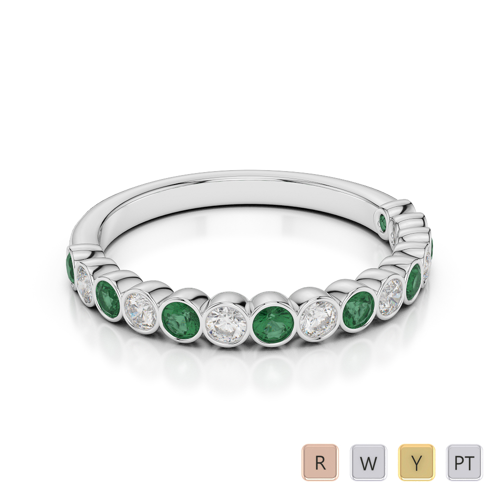 2.5 MM Gold / Platinum Round Cut Emerald and Diamond Half Eternity Ring AGDR-1102
