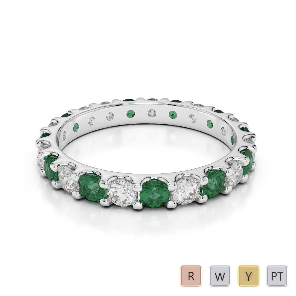 2.5 MM Gold / Platinum Round Cut Emerald and Diamond Full Eternity Ring AGDR-1105