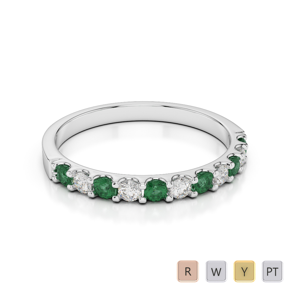 2 MM Gold / Platinum Round Cut Emerald and Diamond Half Eternity Ring AGDR-1107