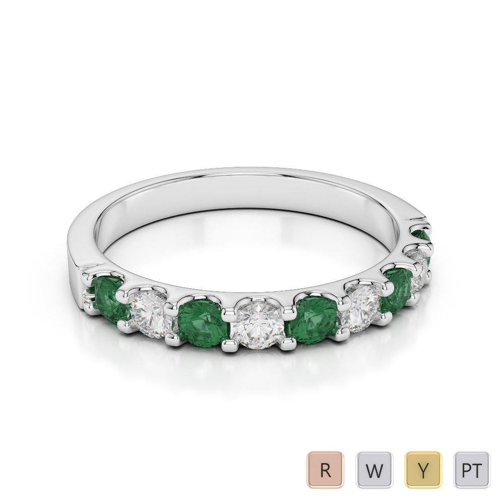 2.5 MM Gold / Platinum Round Cut Emerald and Diamond Half Eternity Ring AGDR-1108